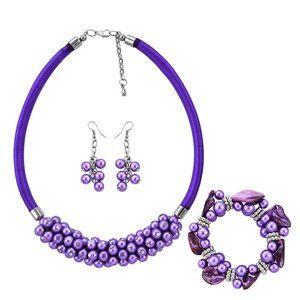 Sim. Purple Pearl & Shell Necklace, Earrings,Brac.